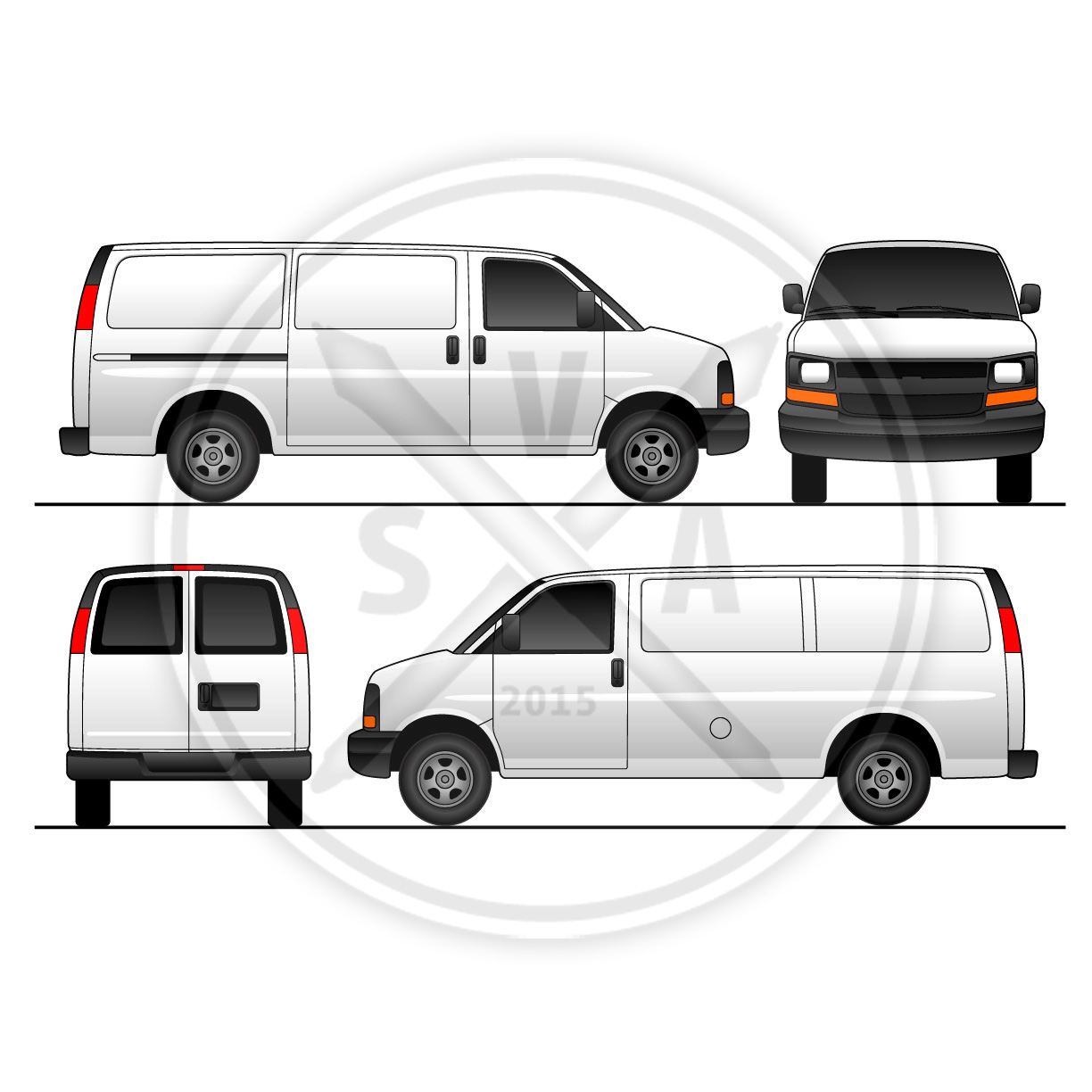 Chev Express Van With Sliding Doors Stock Vector Art