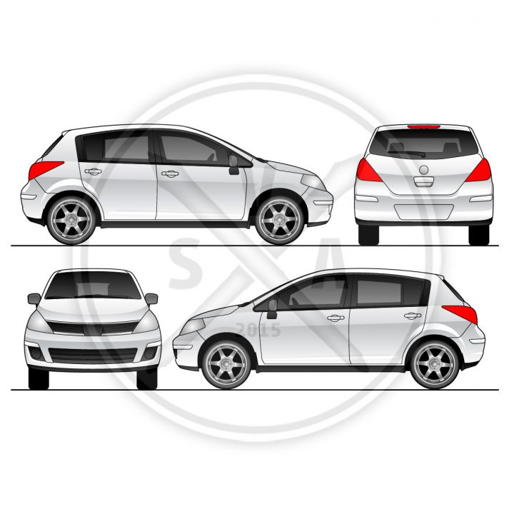 orthographic vector eps of nissan versa for wraps and branding projects