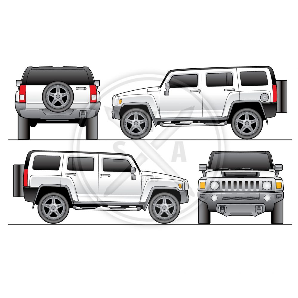 front back and side views of a white hummer h3 suv for wrap designs and promo vehicle design