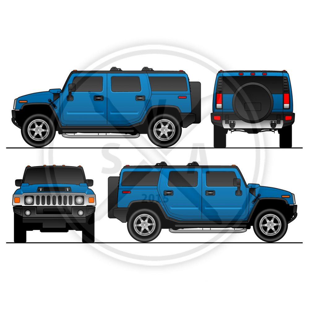 stock vector blank vector outline of a hummer h2 suv for vehicle graphics and wrap designs