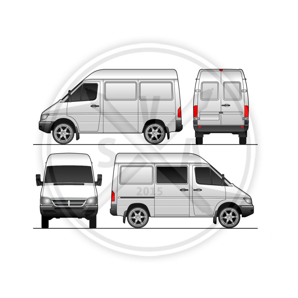 Sprinter Van short version in front back and side view vector stock graphics