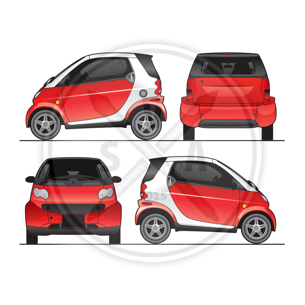 Smart car fortwo graphics template stock vector art for Car wrap design templates