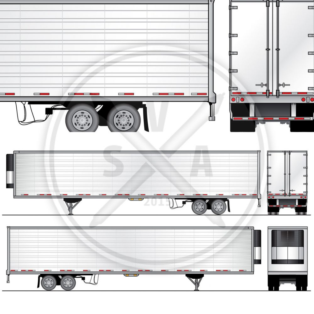 53 reefer trailer design template stock vector art
