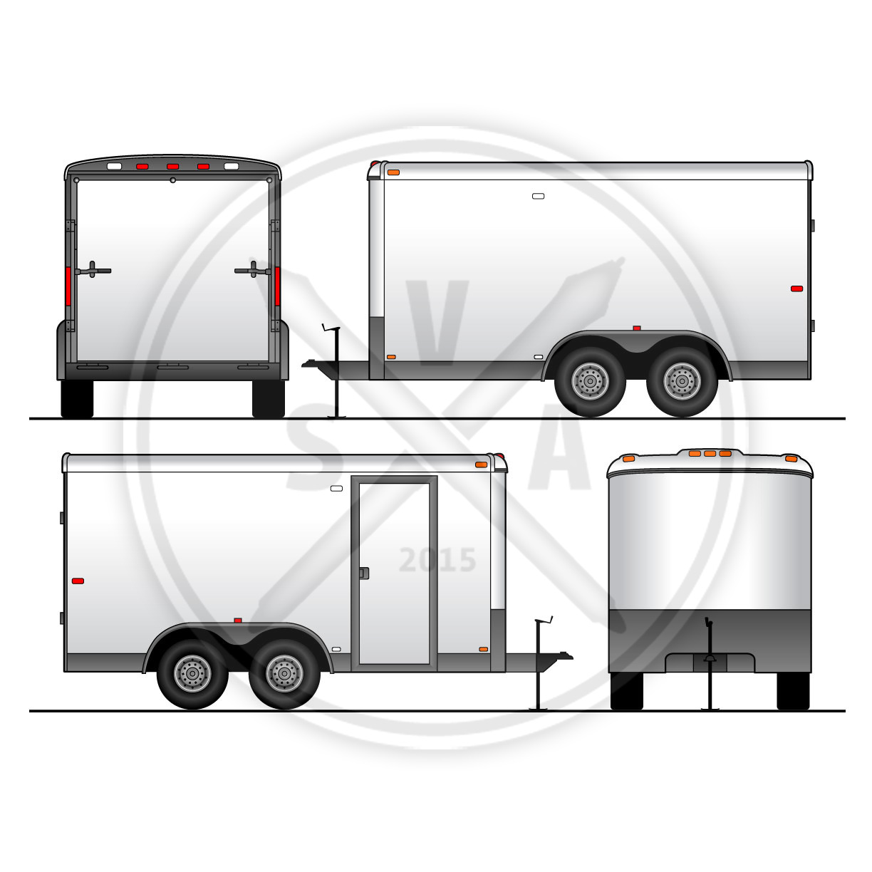 utility trailer vehicle outline stock vector art