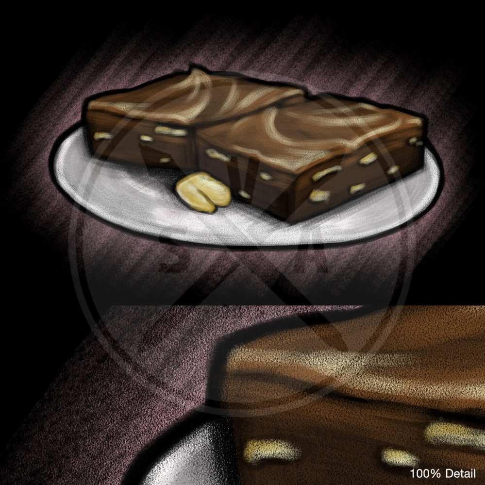 stock image chalkboard sketch of a plate of brownies for menu designs