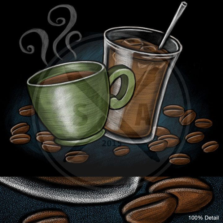 stock illustration of a coffee mug, iced coffee frappuccino, and beans for cafe menus and graphics