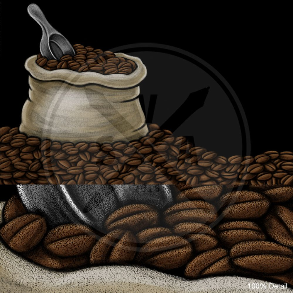 isolated on black chalkboard stock illustration of a coffee beans bag on top of a pile of beans for restaurant and cafe signs or displays