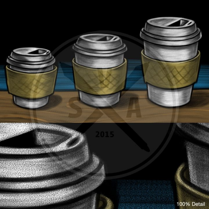 stock illustration of coffee cup size in a blackboard drawing style for menus and signs