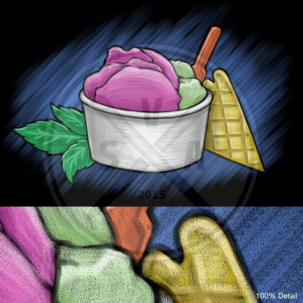 stock chalkboard style drawing of gelato ice cream in a cup with waffle wedge