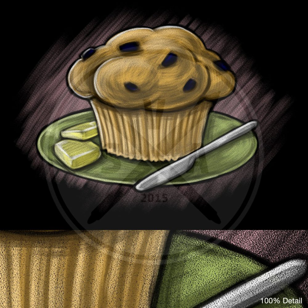 blackboard or chalkboard stock illustration of a muffin on a plate for signs and menus