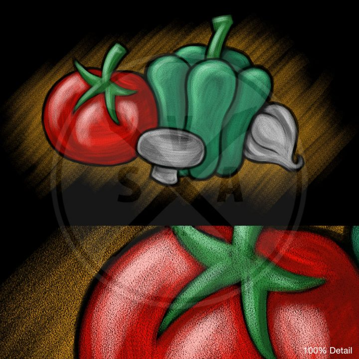 stock illustration of spot vegetables in a sketchy chalkboard style