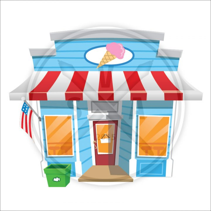 stock vector eps file of a cartoon ice cream parlor