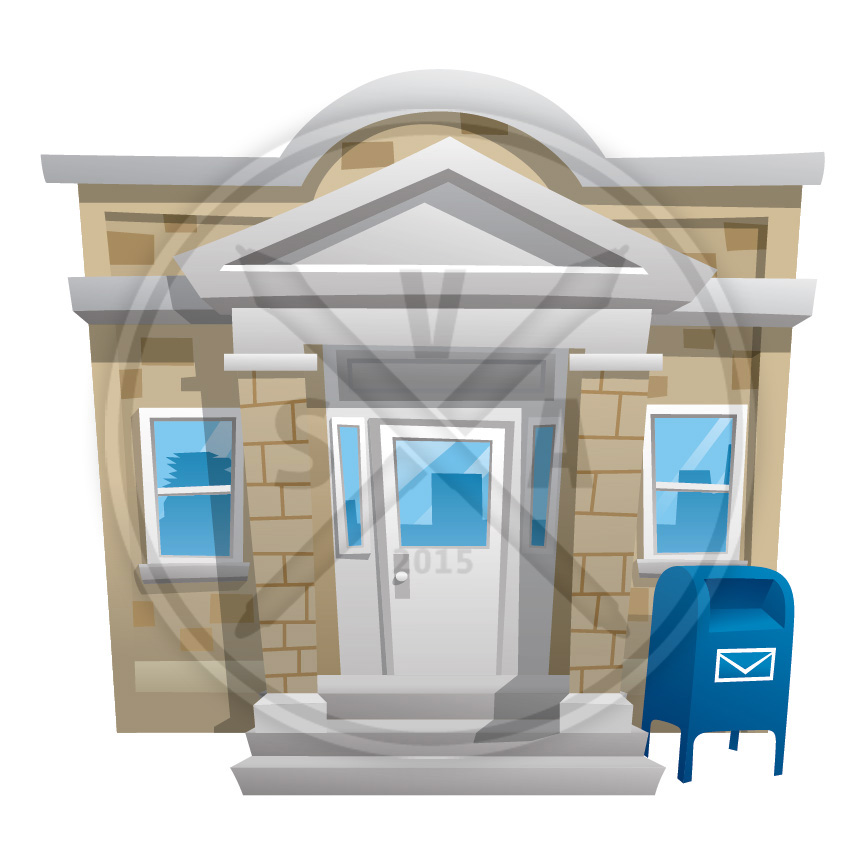 stock vector illustration of a cartoon post office with mailbox