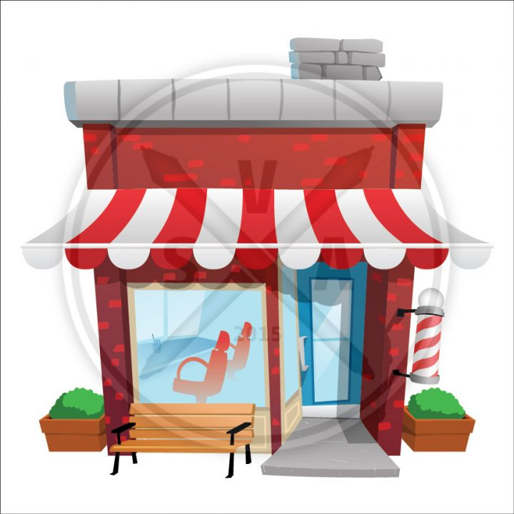 stock vector illustration of a cartoon barber shop with bench in front