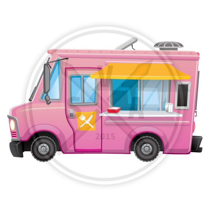 stock vector illustration of a cartoon food truck