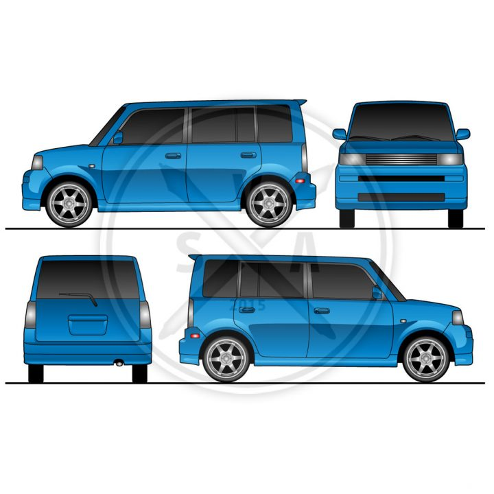 stock vector artwork of a scion xb wrap design template