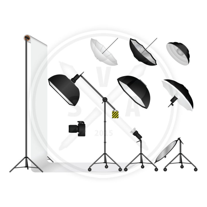 photography lighting diagram vector graphics from the side view including strobes, monolights, umbrellas, softboxes, and octaboxes.