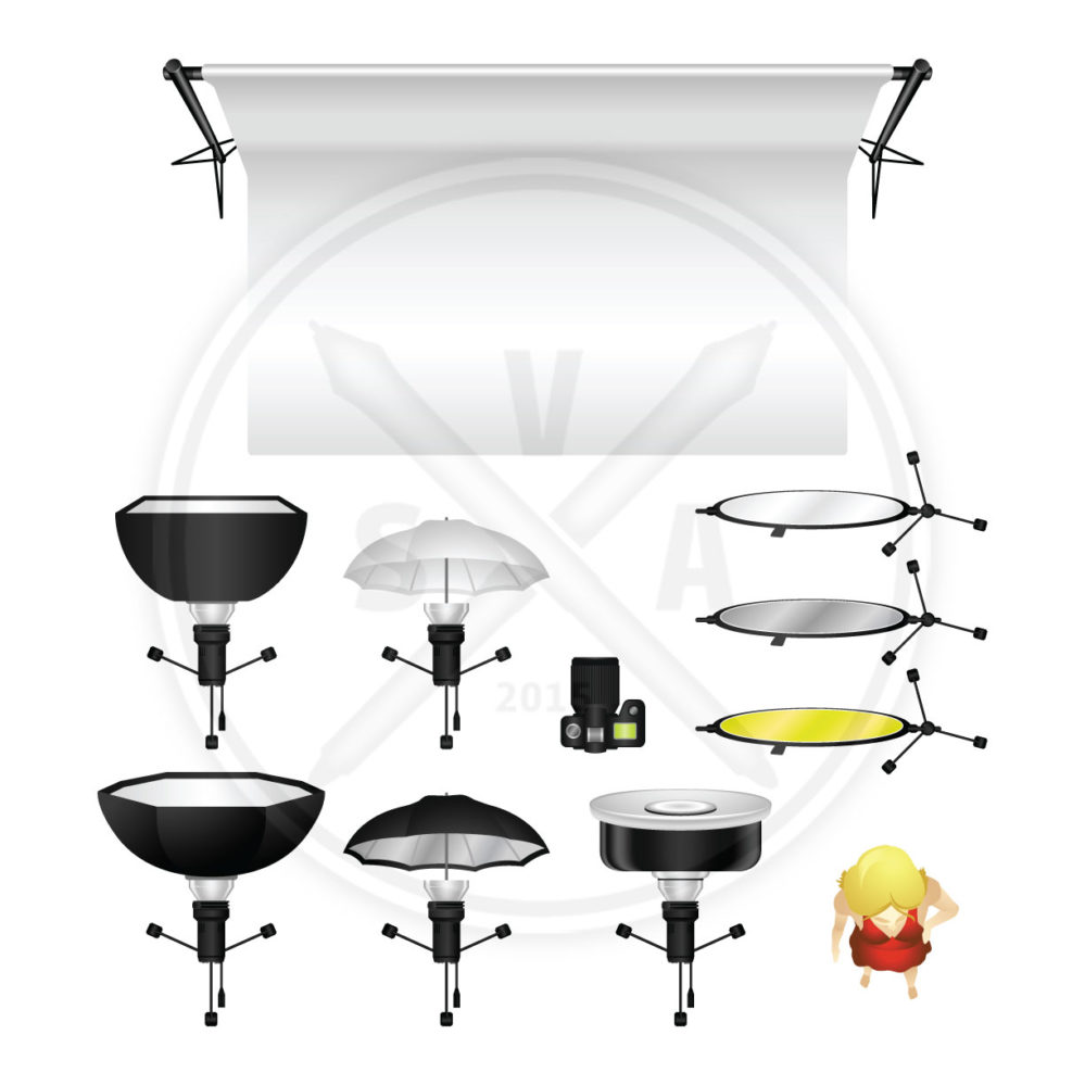 overhead view of vector photo lighting diagram object such as a softbox, bounce umbrella, and beauty dish reflector eps