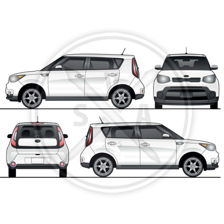 Kia Soul Wrap Design vector artwork suitable for branding and other design projects.