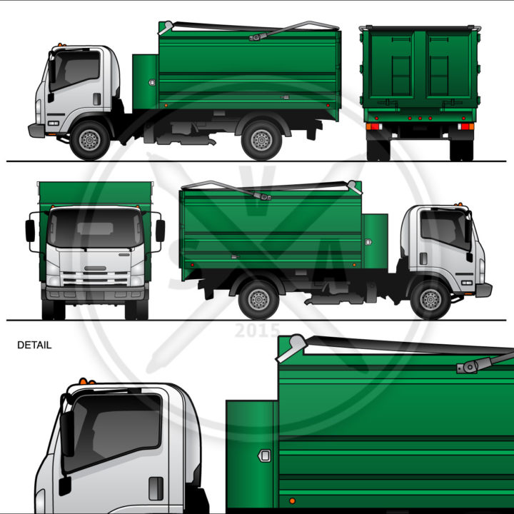 Blank vector graphics of an Isuzu Medium Duty Dump Truck template for design projects like branding and mockups in green