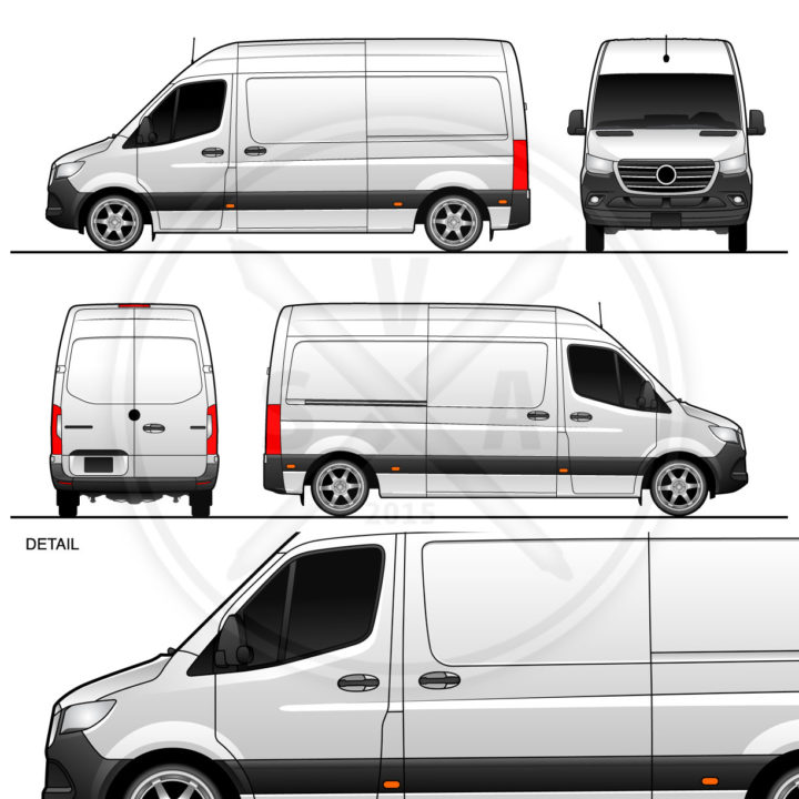 2019 Sprinter Panel Van Standard High Roof Vector Outline for wrap design and brand books