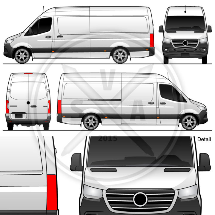 Sprinter Van High Roof Vehicle Outline cargo van vector graphic for brand books and graphic graphic design mockups. Long wheelbase 170 inches.