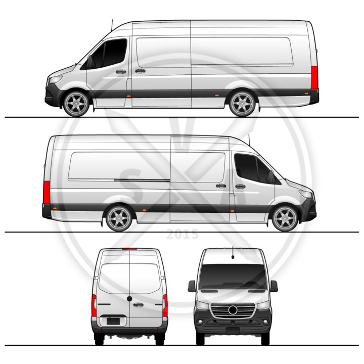 Sprinter Van High Roof Long Extended vector vehicle wrap template. Graphic of white panel van extended version on 170 inch wheelbase.
